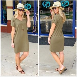 Olive T-Shirt Dress with Pockets